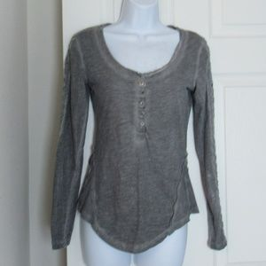 Free People Grey Long Sleeve Blouse Size S